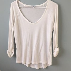 Splendid white v neck rolled sleeve top SMALL